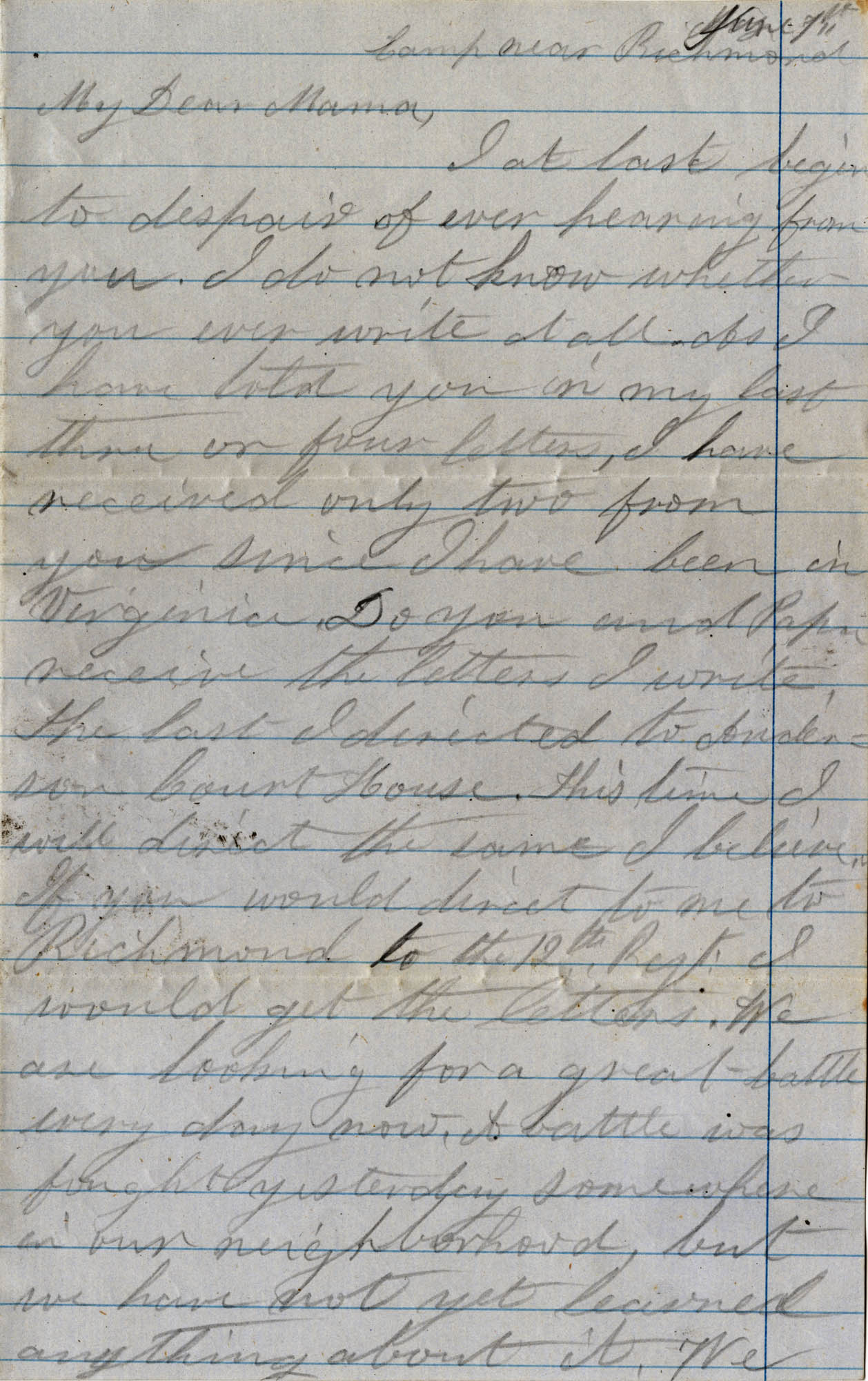 055. Willis Keith to Anna Bella Keith -- June 1, 1862?.