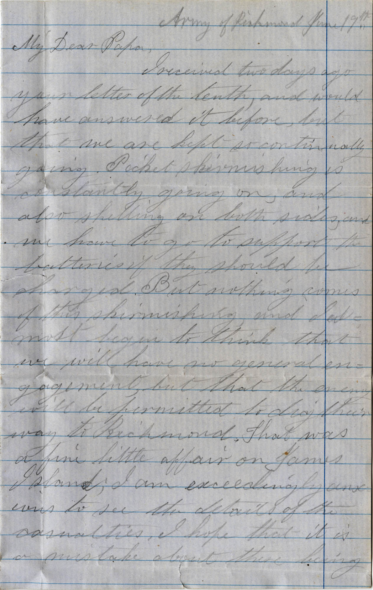 057. Willis Keith to Paul Trapier Keith -- June 19, 1862?.