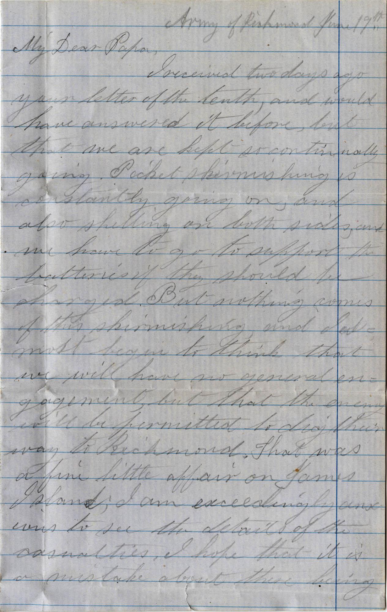 057. Willis Keith to Paul Trapier Keith -- June 19, 1862?.