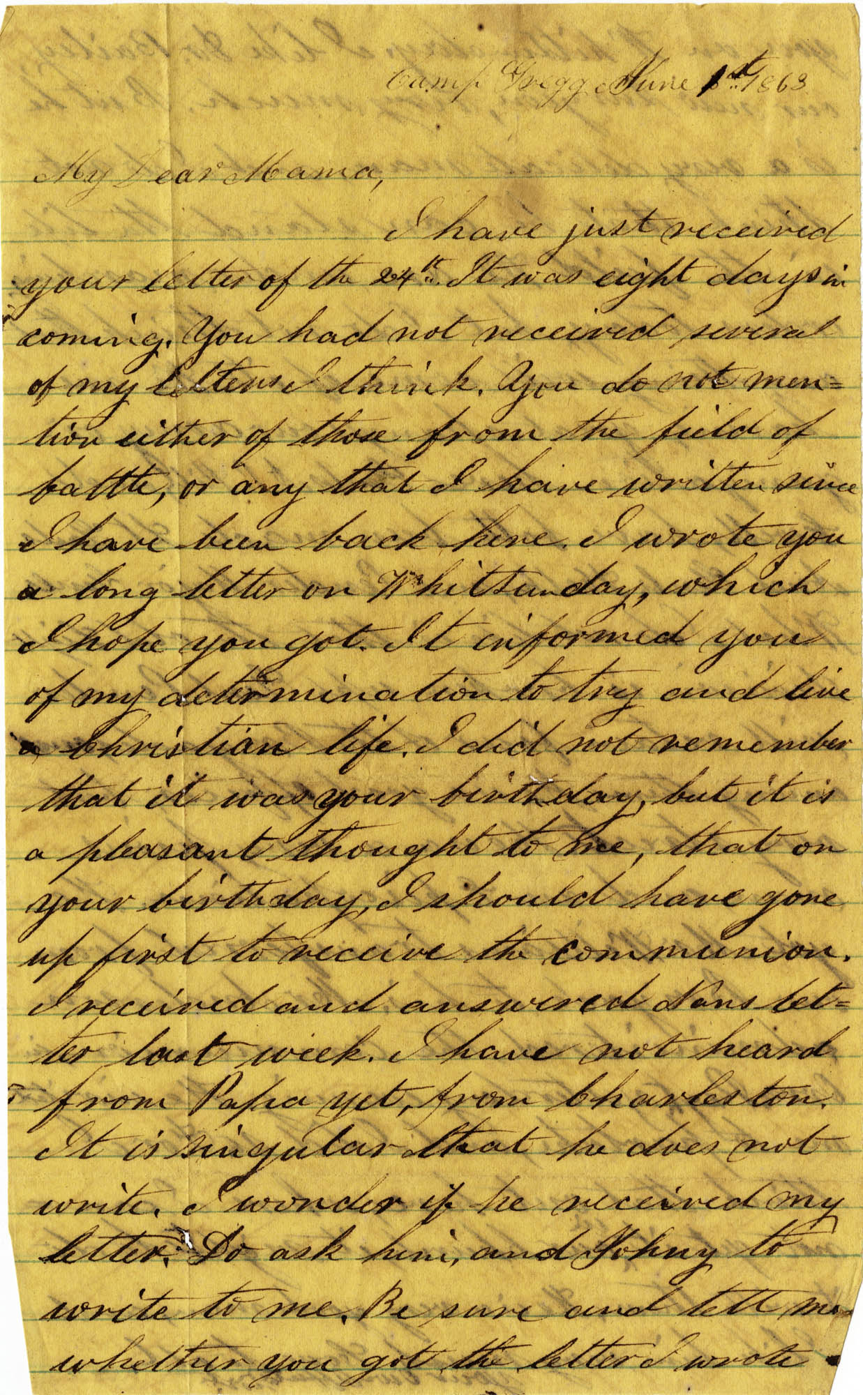 084. Willis Keith to Anna Bell Keith -- June 1, 1863