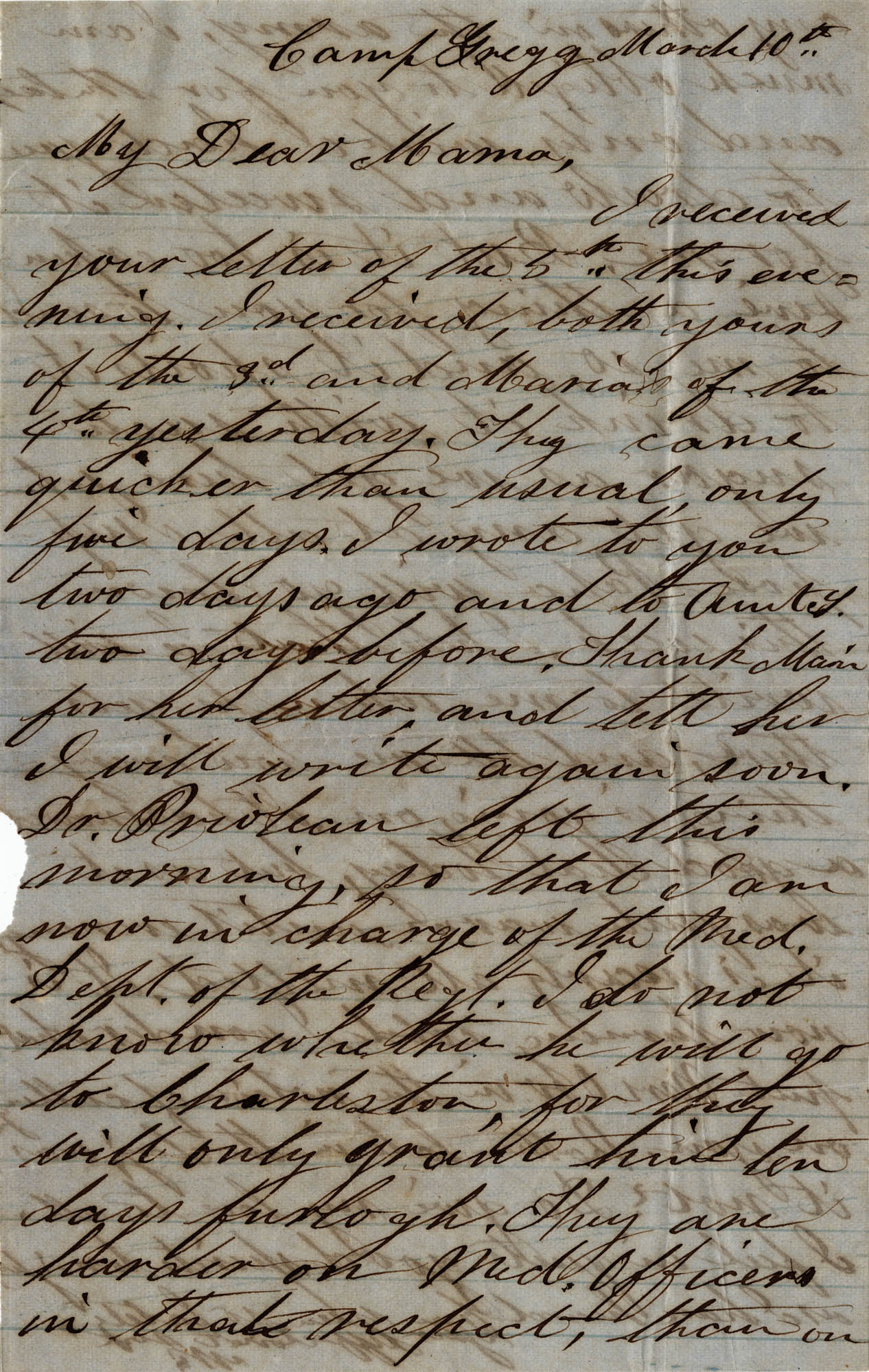077. Willis Keith to Anna Bell Keith -- Mar. 10, 1863