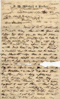 132. Alex Marshall to Magdalen Elizabeth Wilkinson Marshall (nee Keith) -- Sept., 23 1882