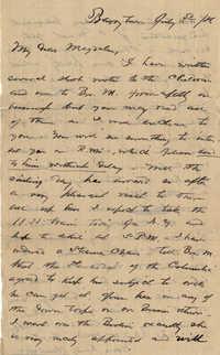 130. Alex Marshall to Magdalen Elizabeth Wilkinson Marshall (nee Keith) -- July 3, 1886