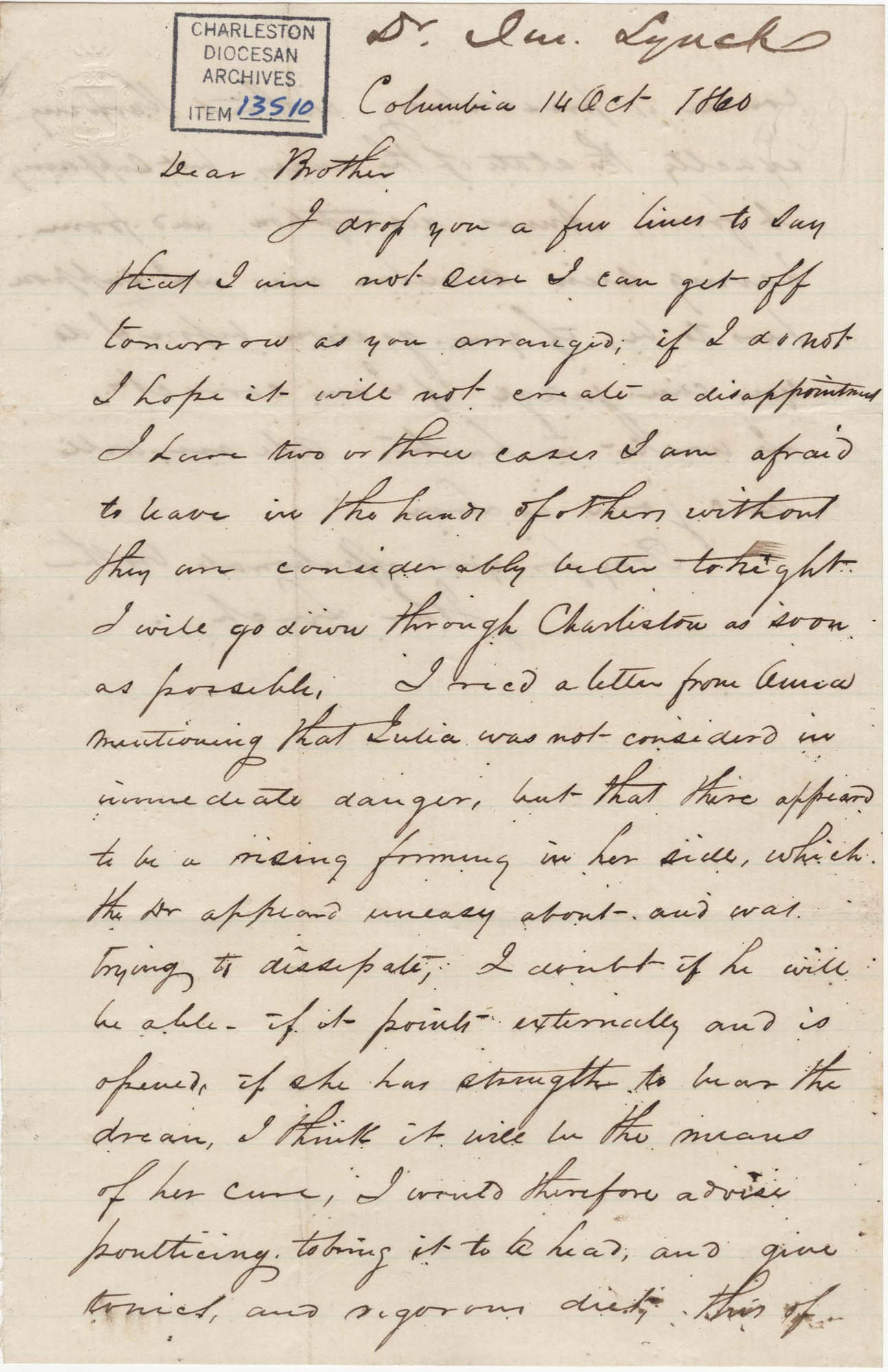 130. John Lynch to Bp Patrick Lynch -- October 14, 1860