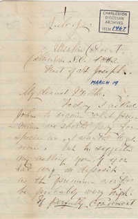 210. Madame Baptiste to Bp Patrick Lynch -- March 19, 1862