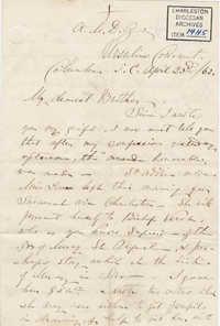 218. Madame Baptiste to Bp Patrick Lynch -- April 23, 1862