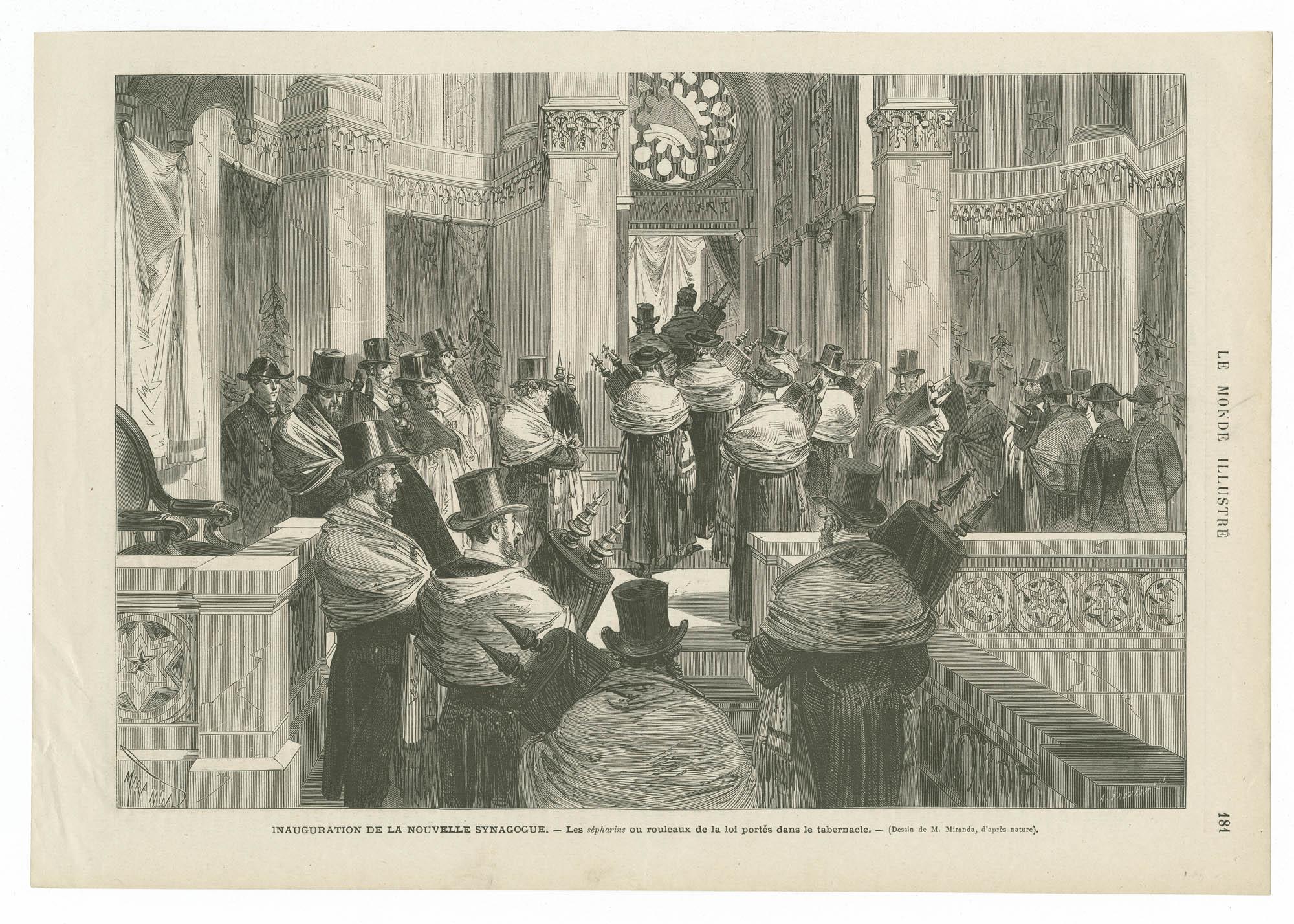 Inauguration de la nouvelle synagogue. - Les sépharins ou rouleaux de la loi portés dans le tabernacle.