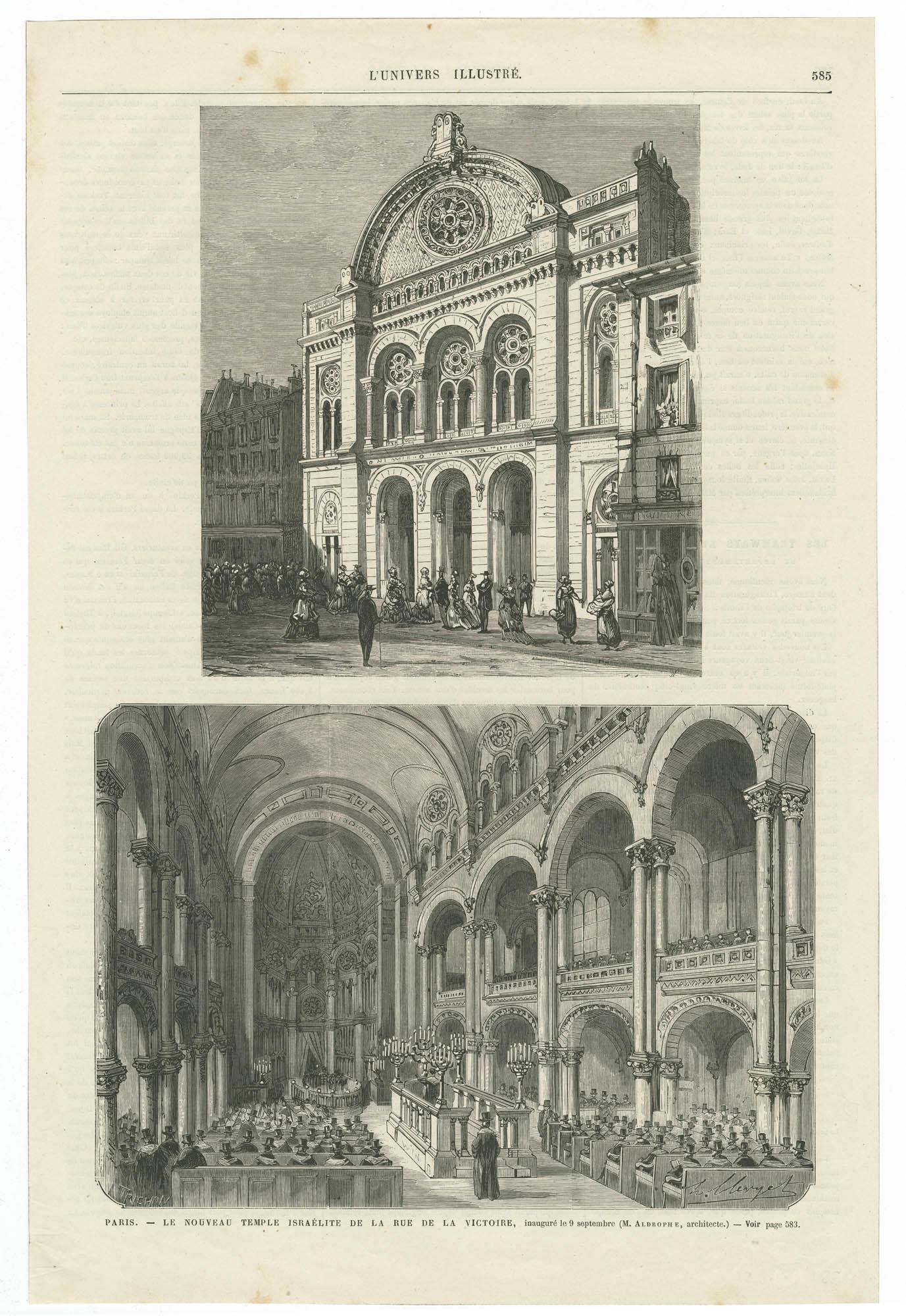 Paris. - Le nouveau Temple israélite de la rue de la Victoire, inauguré le 9 septembre.