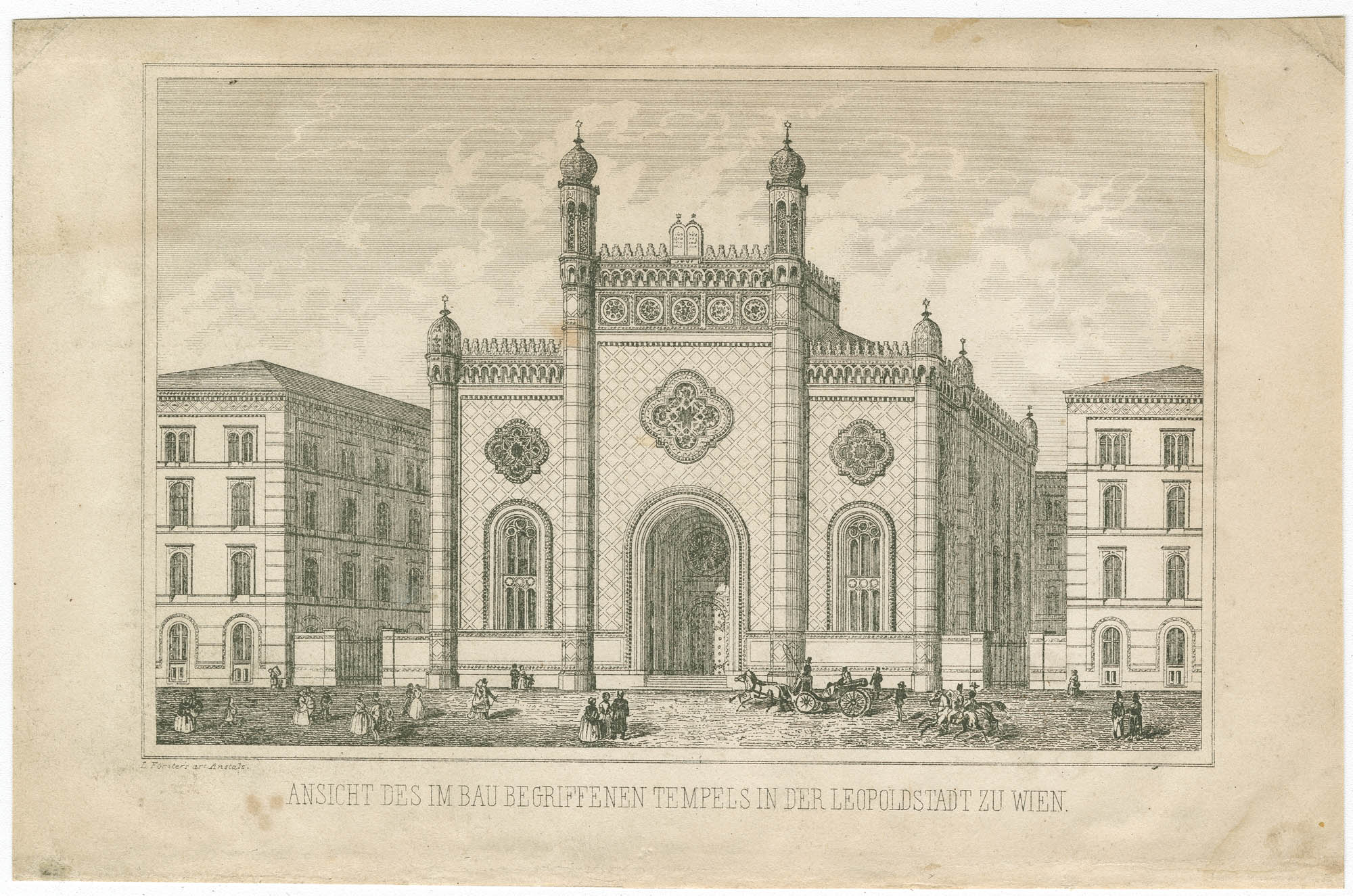 Ansicht des im Bau begriffenen Tempels in der Leopoldstadt zu Wien