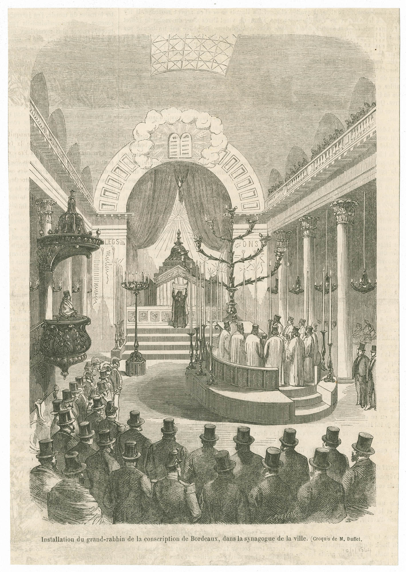 Installation du grand-rabbin de la conscription de Bordeaux, dans la synagogue de la ville