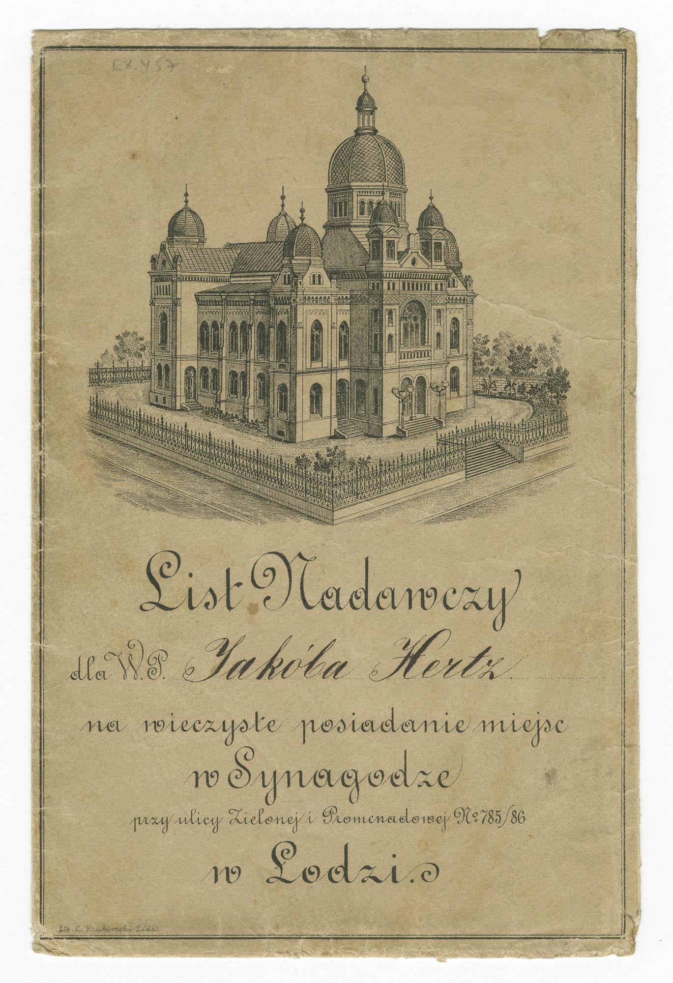 List Nadawczy dla W. P. Jakóba Hertz na wieczyste posiadanie miejsc w Synagodze w Łodzi