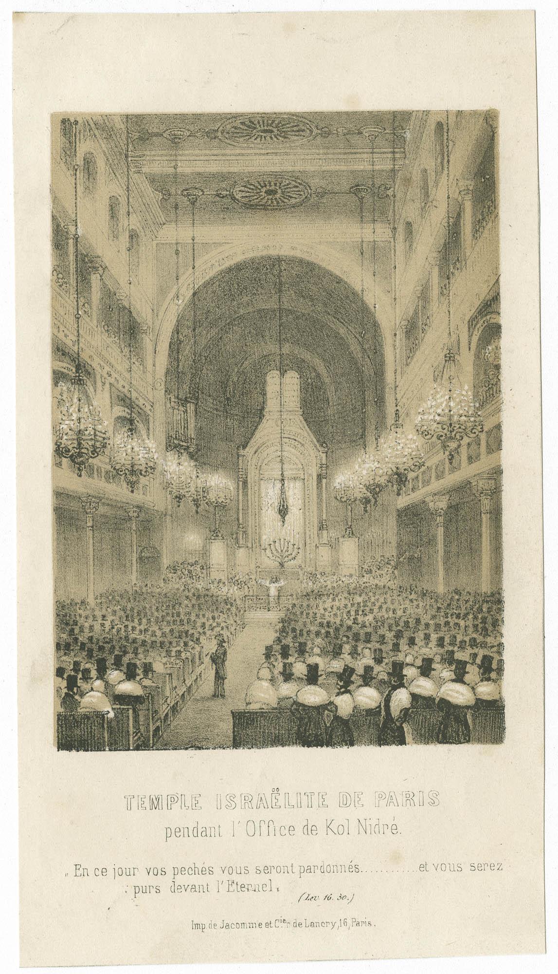 Temple israëlite de Paris, pendant l'office de Kol Nidré