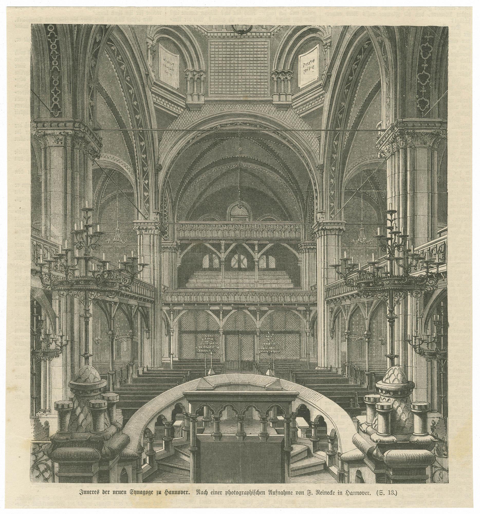 Inneres der neuen Synagoge zu Hannover