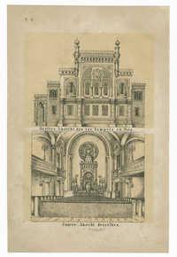 Äussere Ansicht des isr. Tempels zu Prag. / Innere Ansicht desselben.