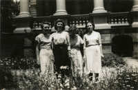 Librarians in garden, Main Library (1)