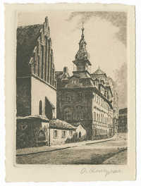 Praha, Staronová synagoga a židovská radnice / Prag, Altneu-Synagoge u. jüdisches Rathaus