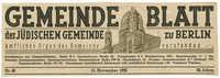 Gemeindeblatt der Jüdischen Gemeinde zu Berlin