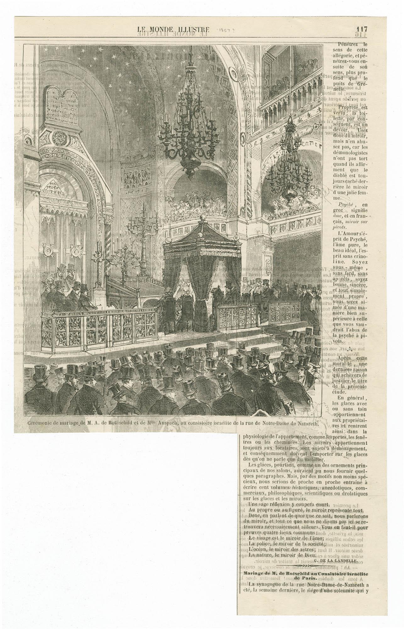 Cérémonie de mariage de M. A. de Rothschild et de Mlle. Anspach, au consistoire israélite de la rue de Notre-Dame-de-Nazareth