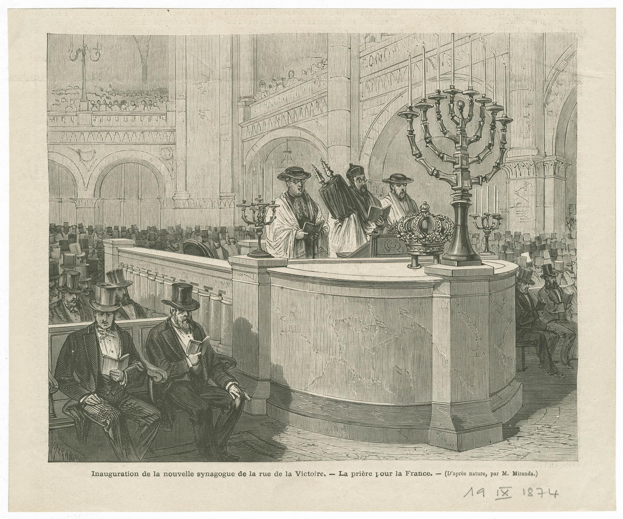 Inauguration de la nouvelle synagogue de la rue de la Victoire. - La prière pour la France.