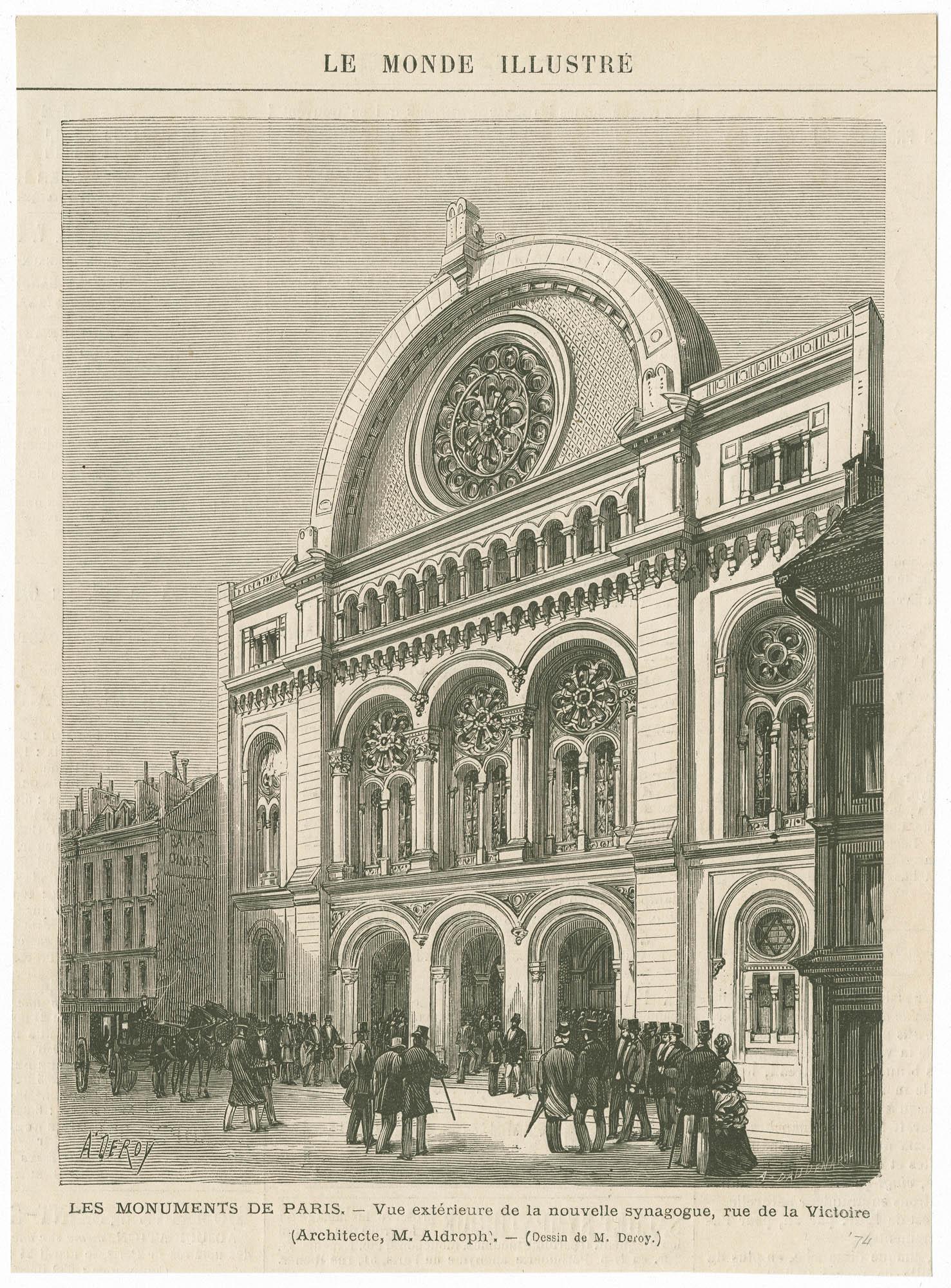 Vue extérieure de la nouvelle synagogue, rue de la Victoire