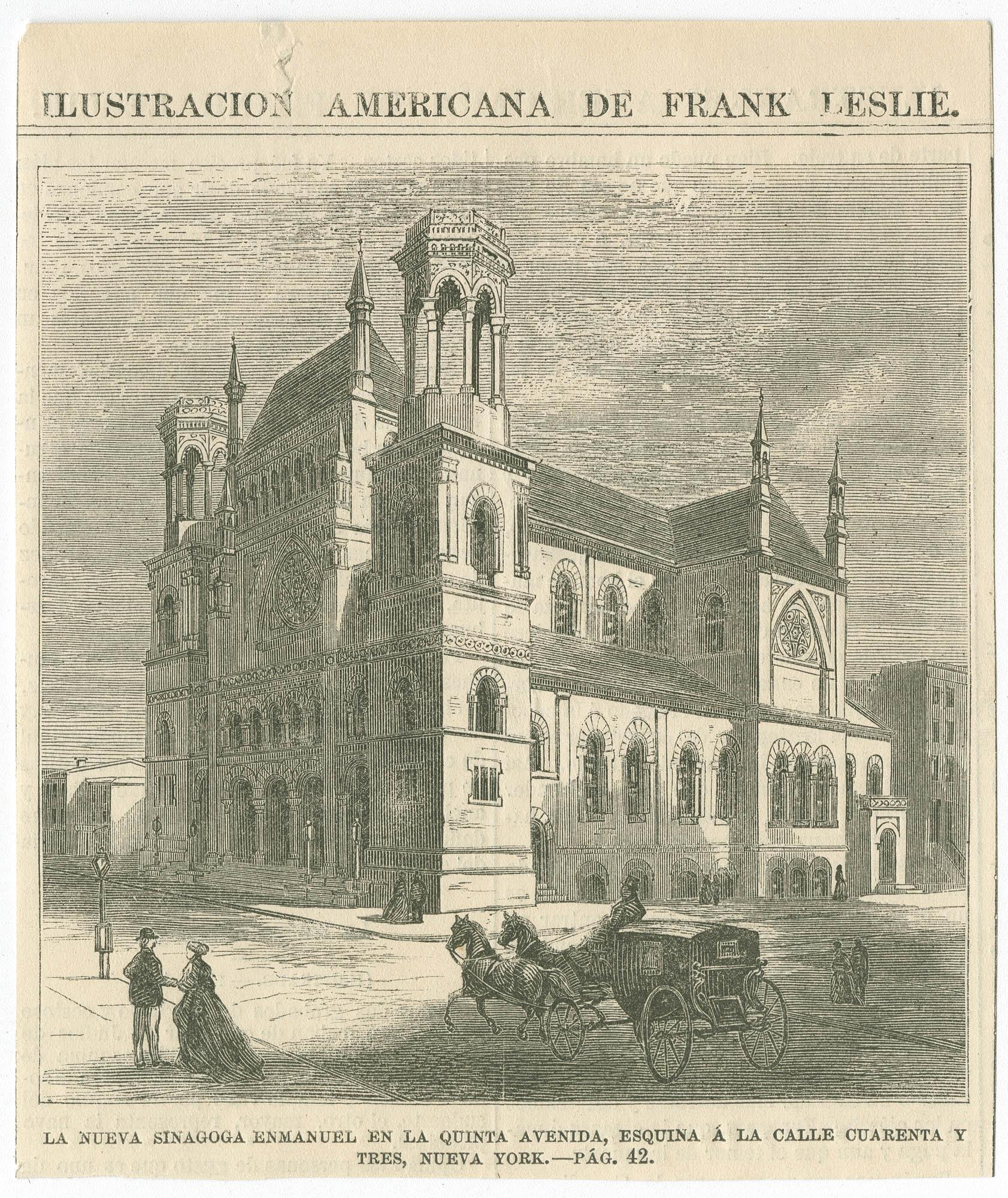 La nueva sinagoga Emmanuel en la Quinta Avenida, esquina a la calle Cuarenta y Tres, Nueva York
