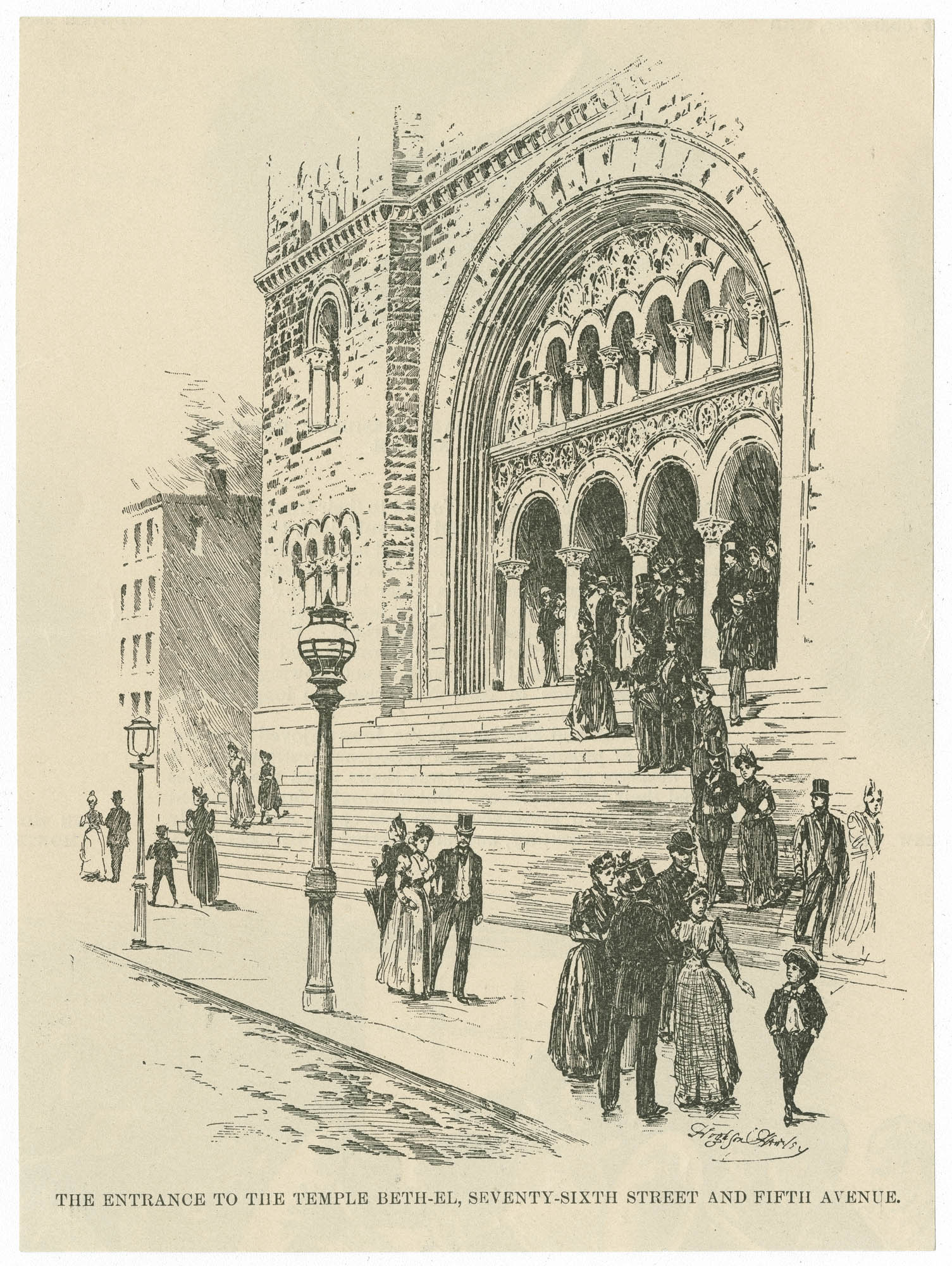The entrance to the Temple Beth-El, Seventy-Sixth Street and Fifth Avenue