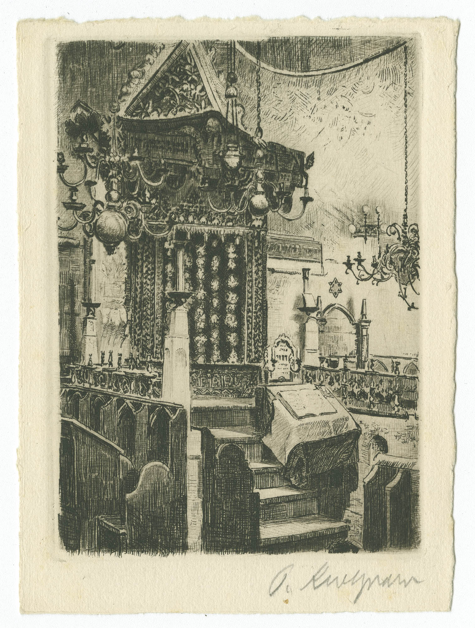 Praha, Staronová synagoga. Vnitřní pohled (Oltář) / Prag, Altneu-Synagoge. Innenansicht (Altar)
