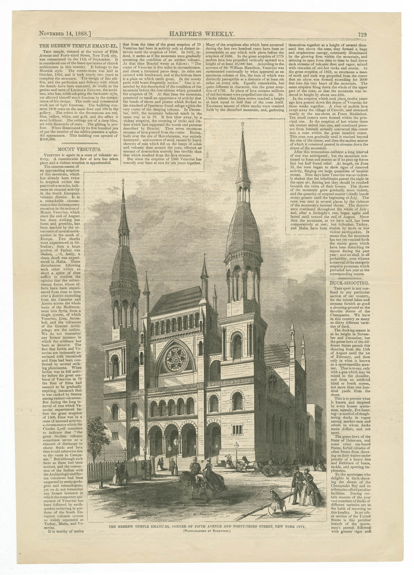 The Hebrew Temple Emanu-El, corner of Fifth Avenue and Forty-Third Street, New York City