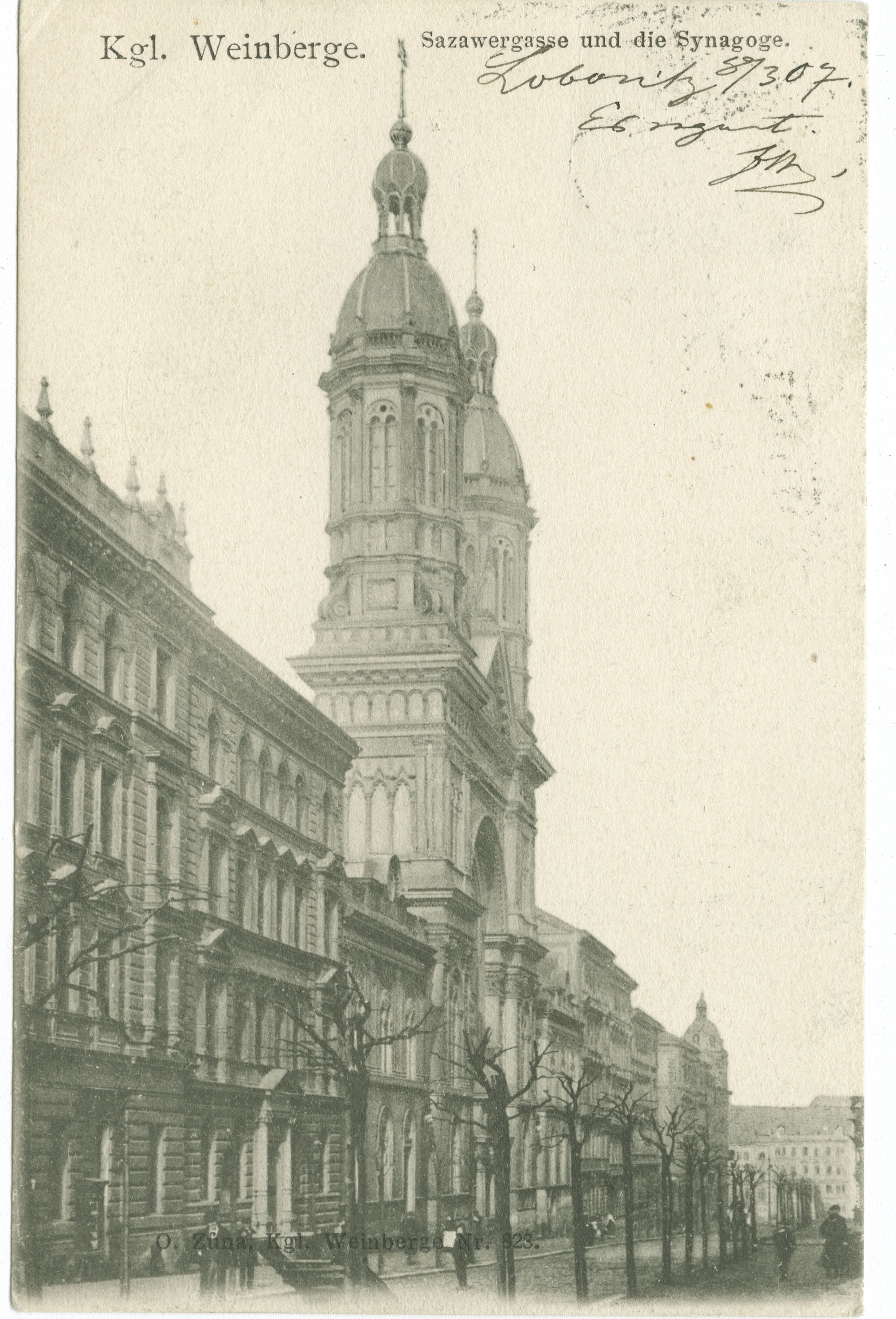 Kgl. Weinberge. Sazawergasse und die Synagoge.
