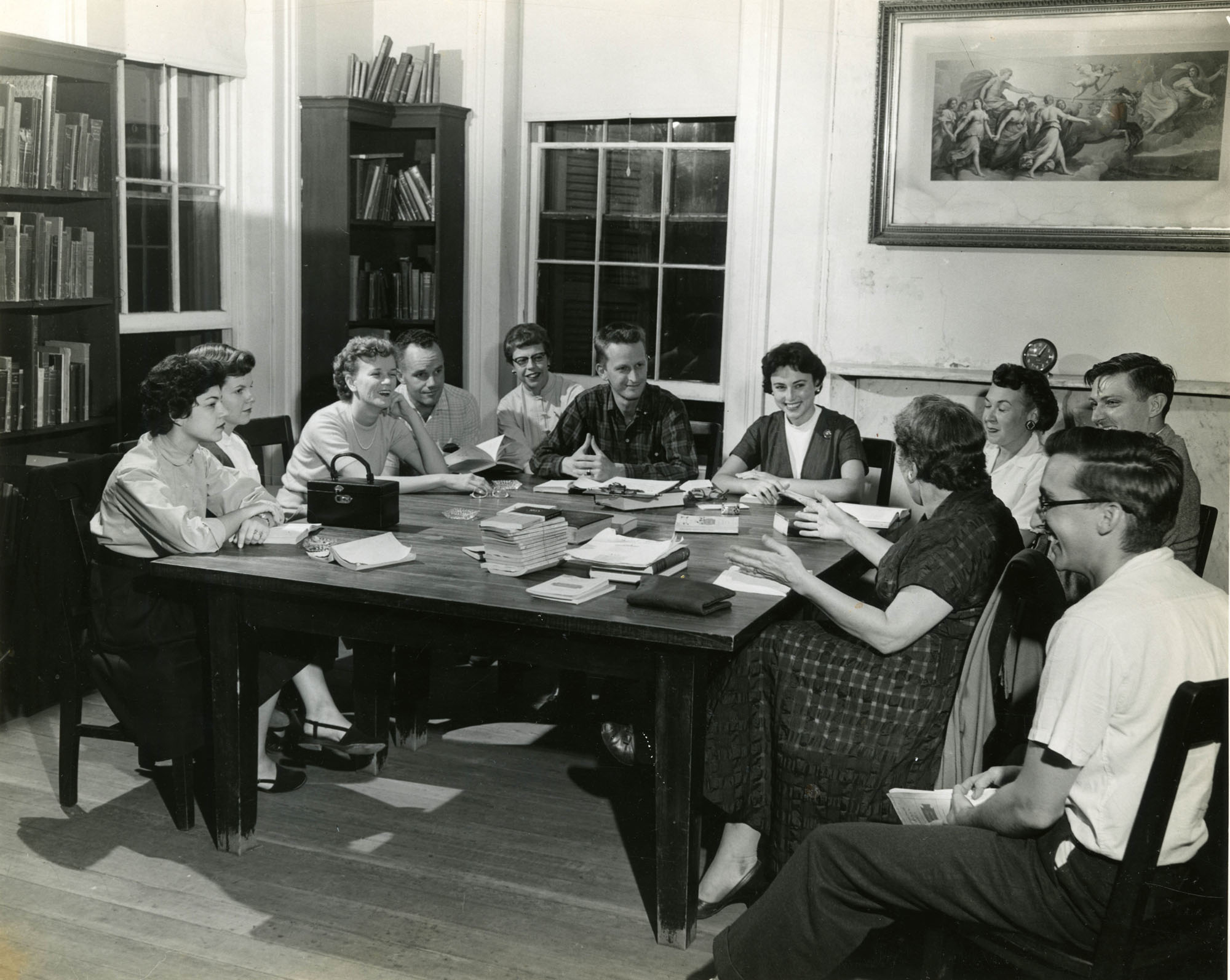 Book discussion at Main Library, 1950s