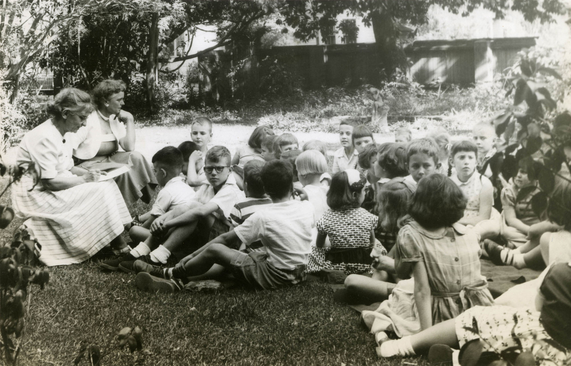Story hour in garden, Main Library