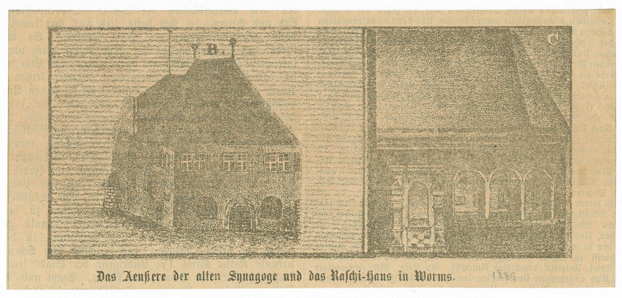 Das Aeußere der alten Synagoge und das Raschi-Haus in Worms