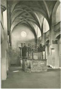Praha. Interiér Pinkasovy synagogy.