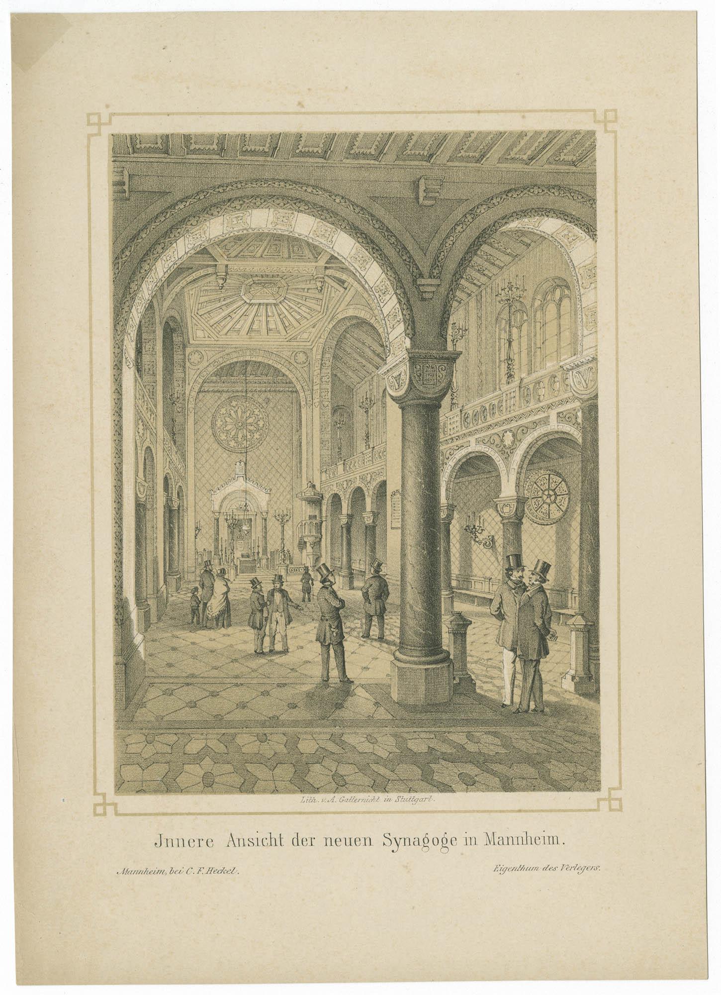 Innere Ansicht der neuen Synagoge in Mannheim