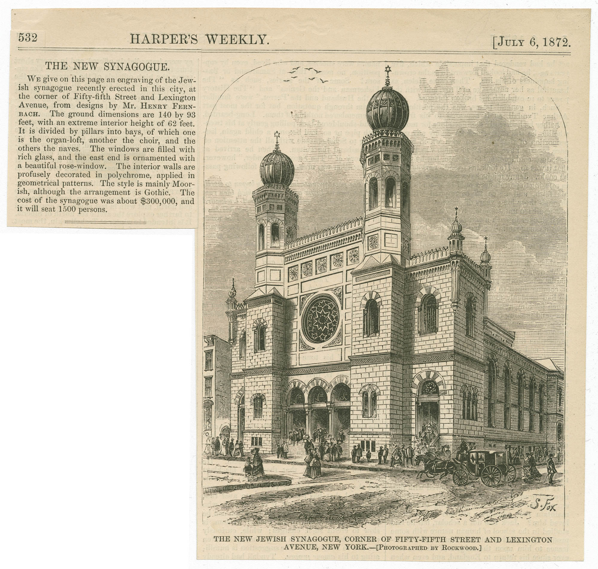 The new Jewish Synagogue, corner of Fifty-Fifth Street and Lexington Avenue, New York