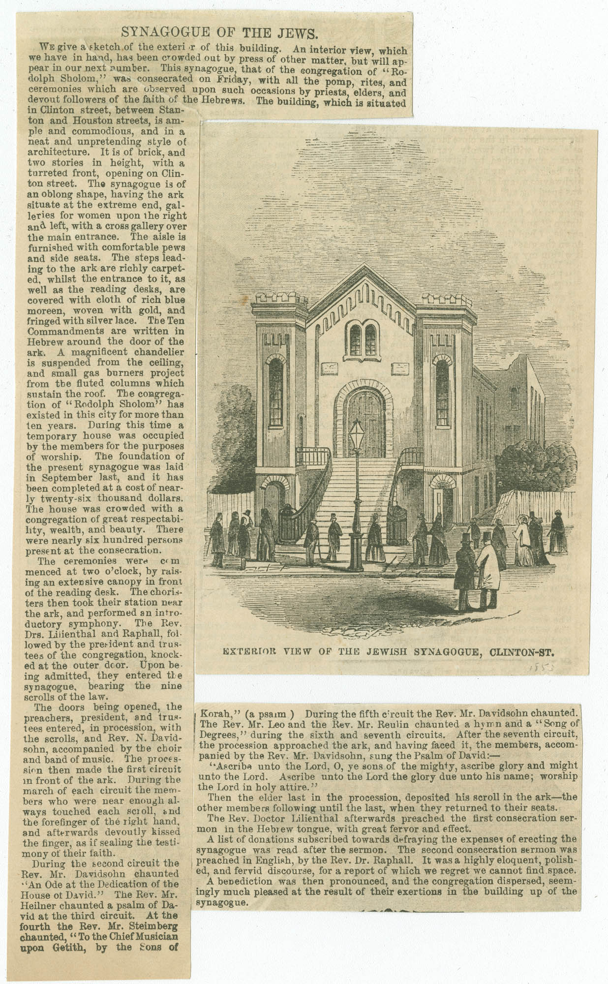 Exterior view of the Jewish Synagogue, Clinton St.