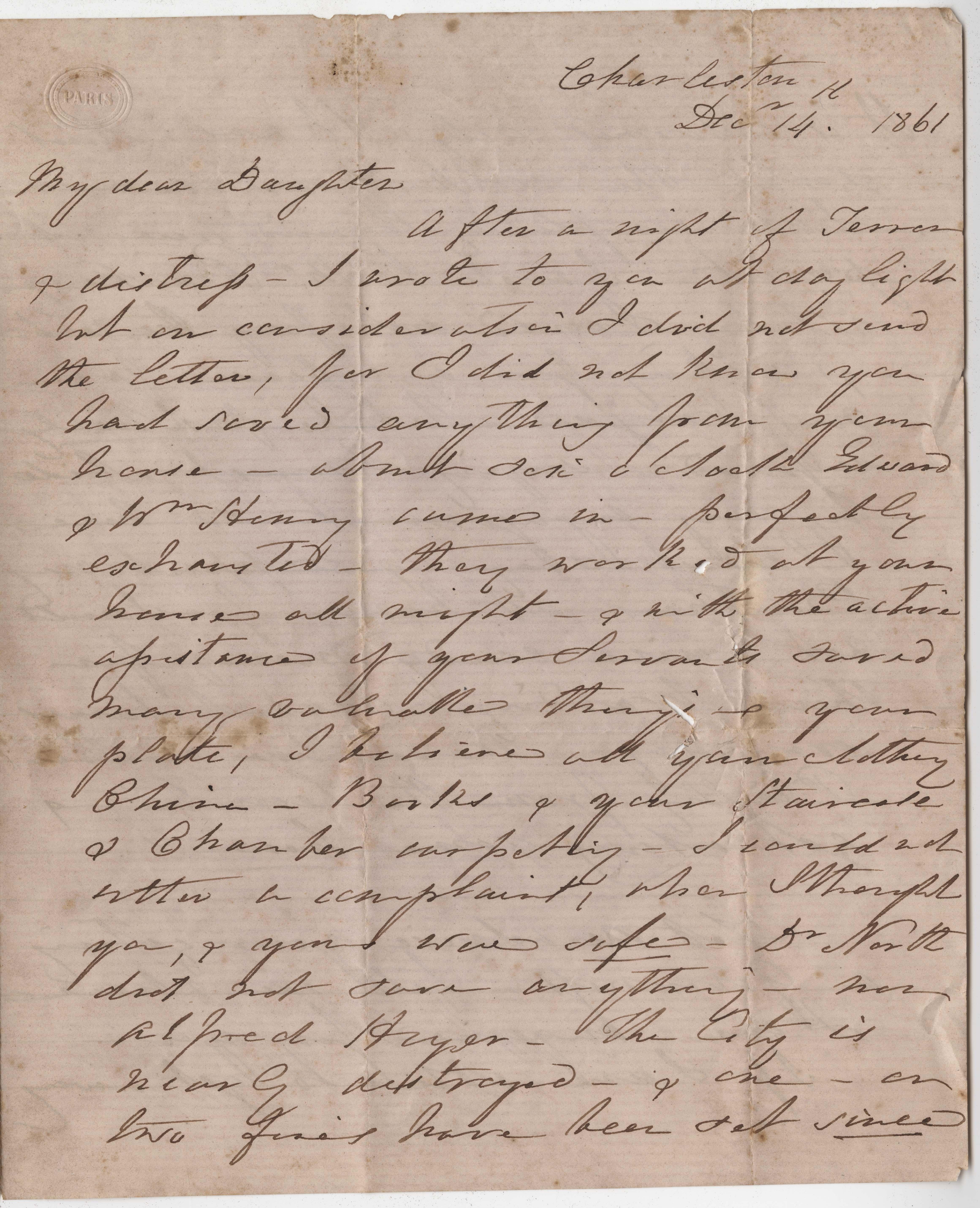 173. Susan S. Keith to Daughter -- December 14, 1861