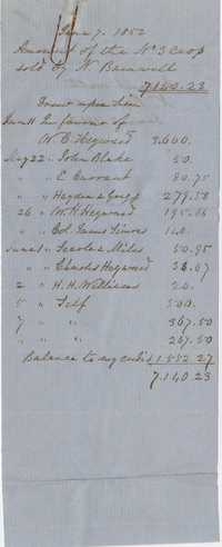 139. Amount of crop sold by Nathaniel Barnwell -- June 7, 1852