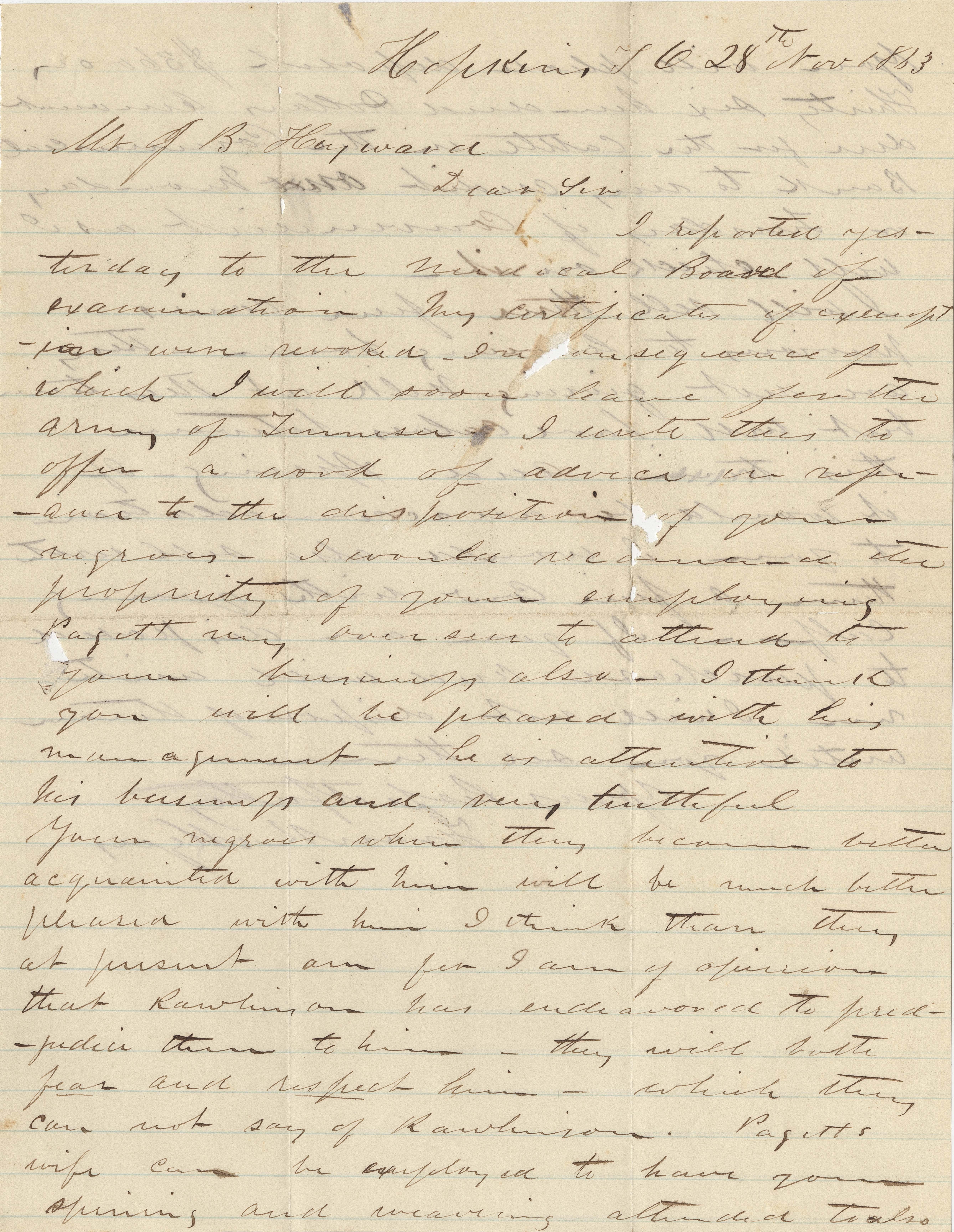 205. Frank Myers to James B. Heyward -- November 28, 1863