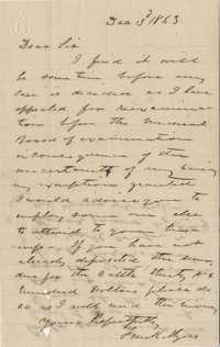207. Frank Myers to James B. Heyward -- December 3, 1863