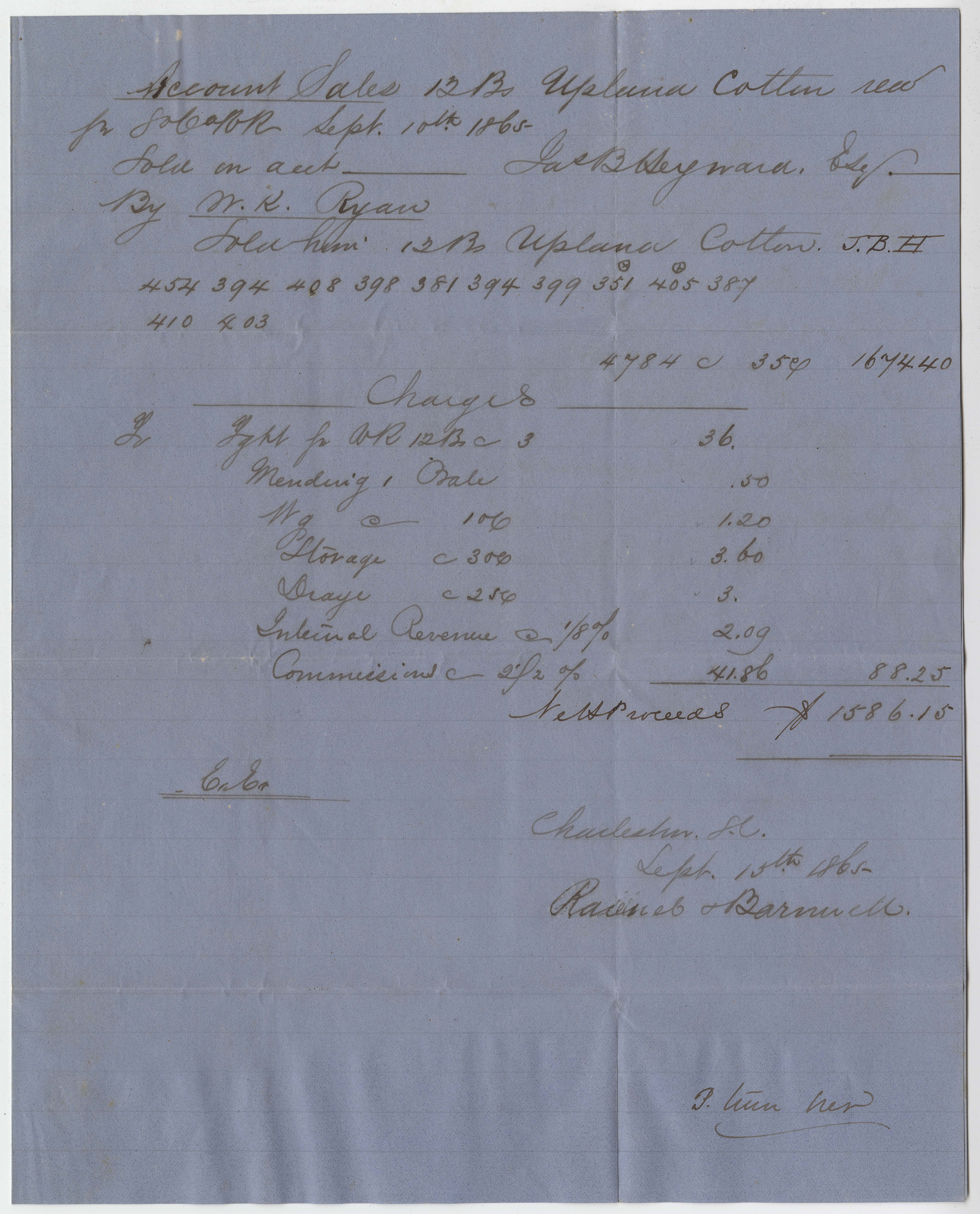 255. Receipt for cotton sold by James B. Heyward -- September 10, 1865