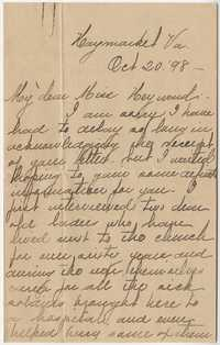 355. Nellie B. Clarksall to Miss Heyward -- October 20, 1898