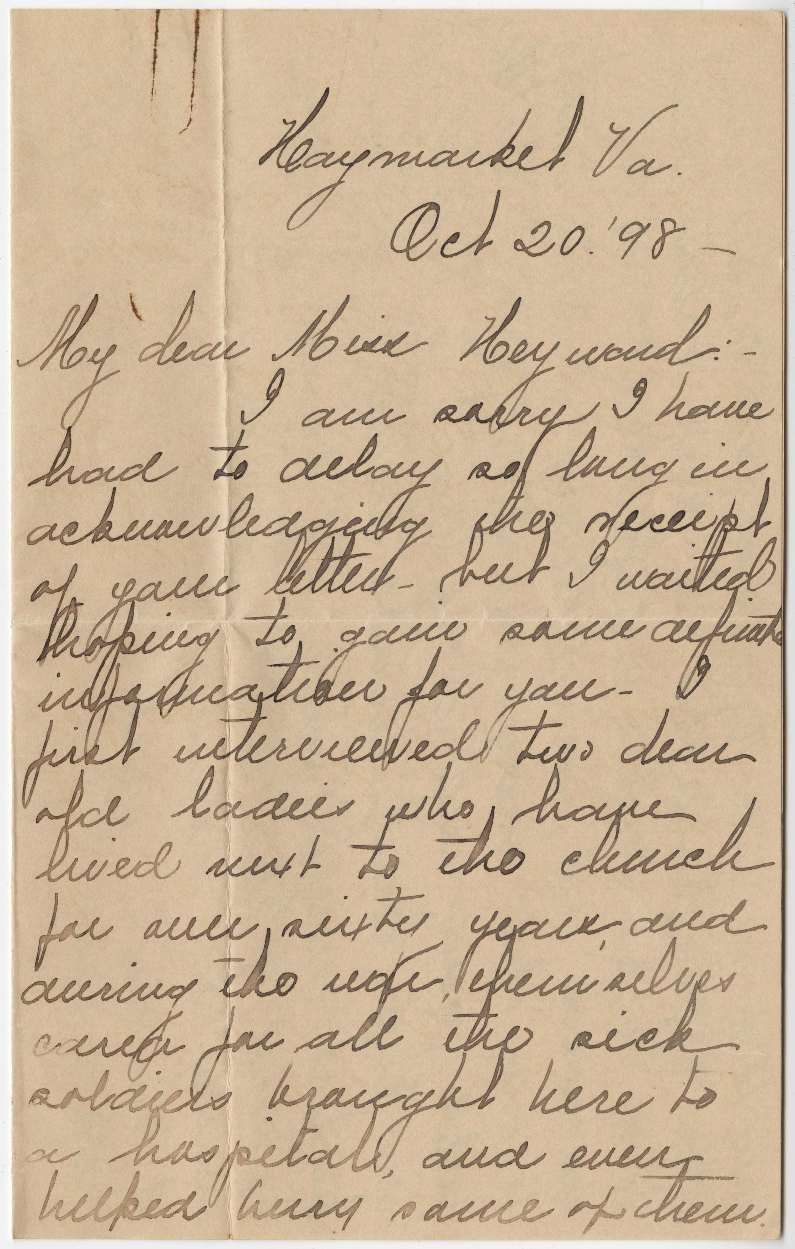 355. Nellie B. Clarksall to Miss Heyward -- October 20, 1898
