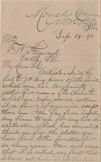 348. Lewis Lucas to F. W. Heyward -- September 19, 1890