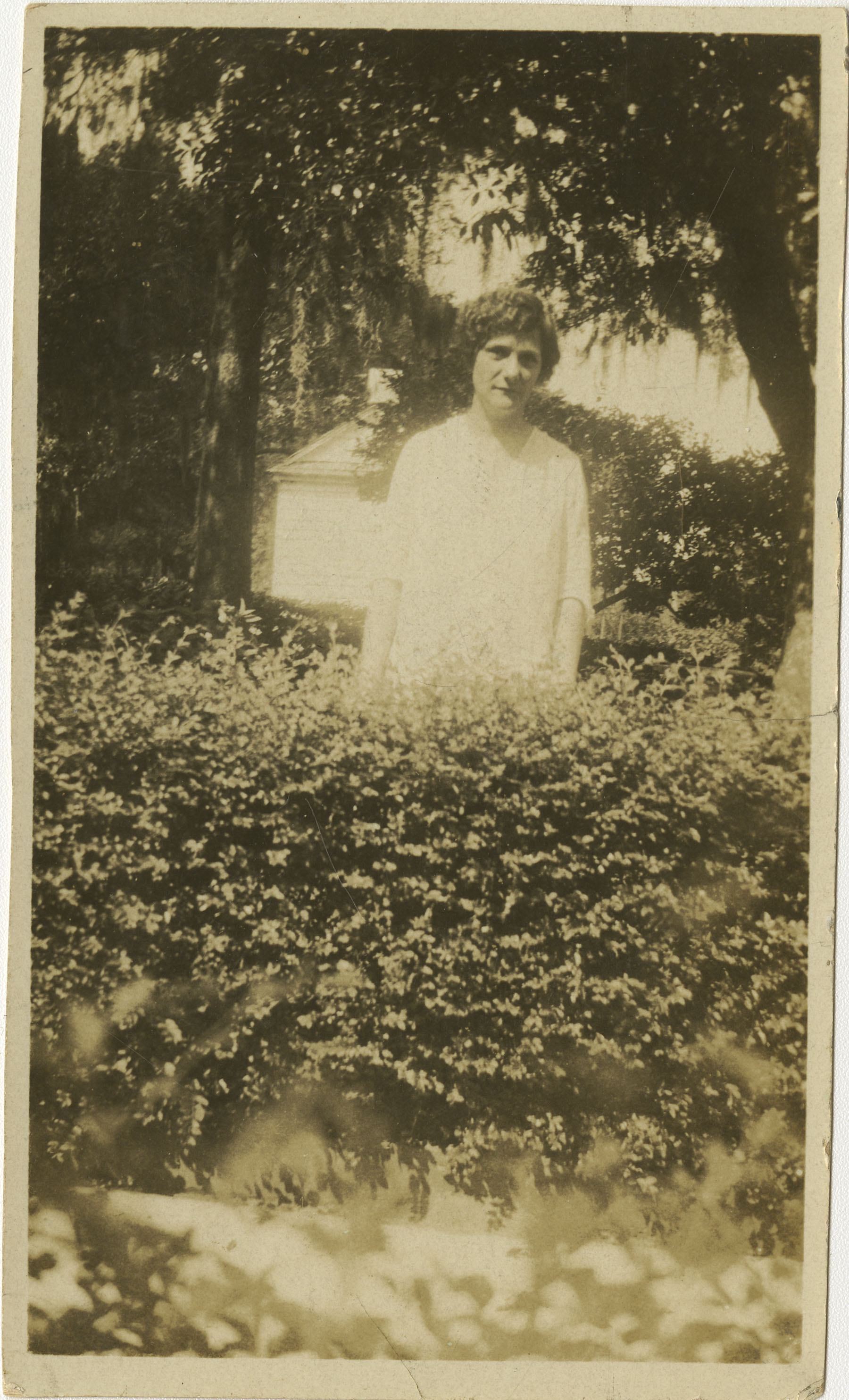 Woman Standing Behind Bushes