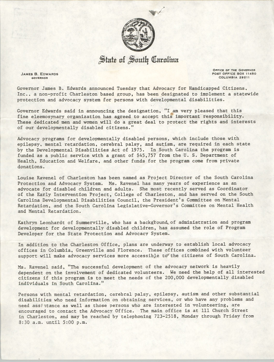 State of South Carolina Statement on Advocacy for Handicapped Citizens, Inc.