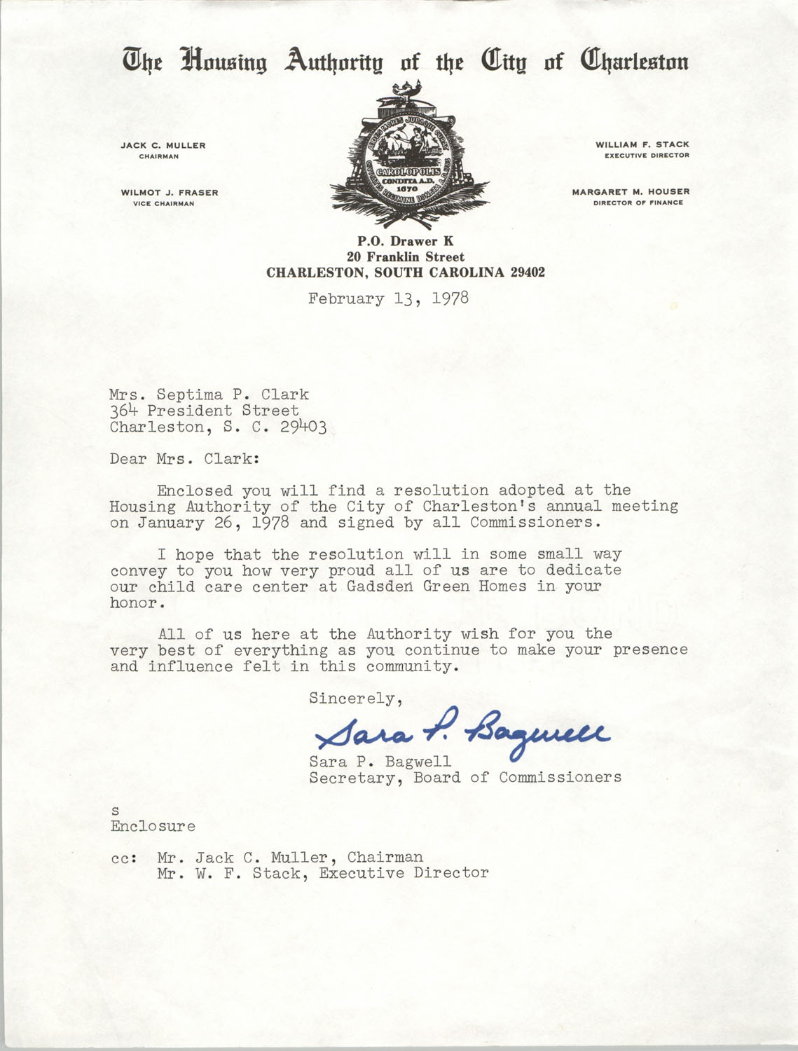 Letter from Sara P. Bagwell to Septima P. Clark, February 13, 1978