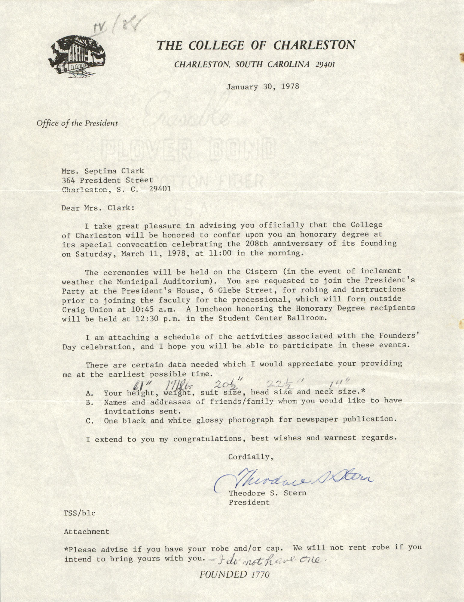 Letter from Theodore S. Stern to Septima P. Clark, January 30, 1978