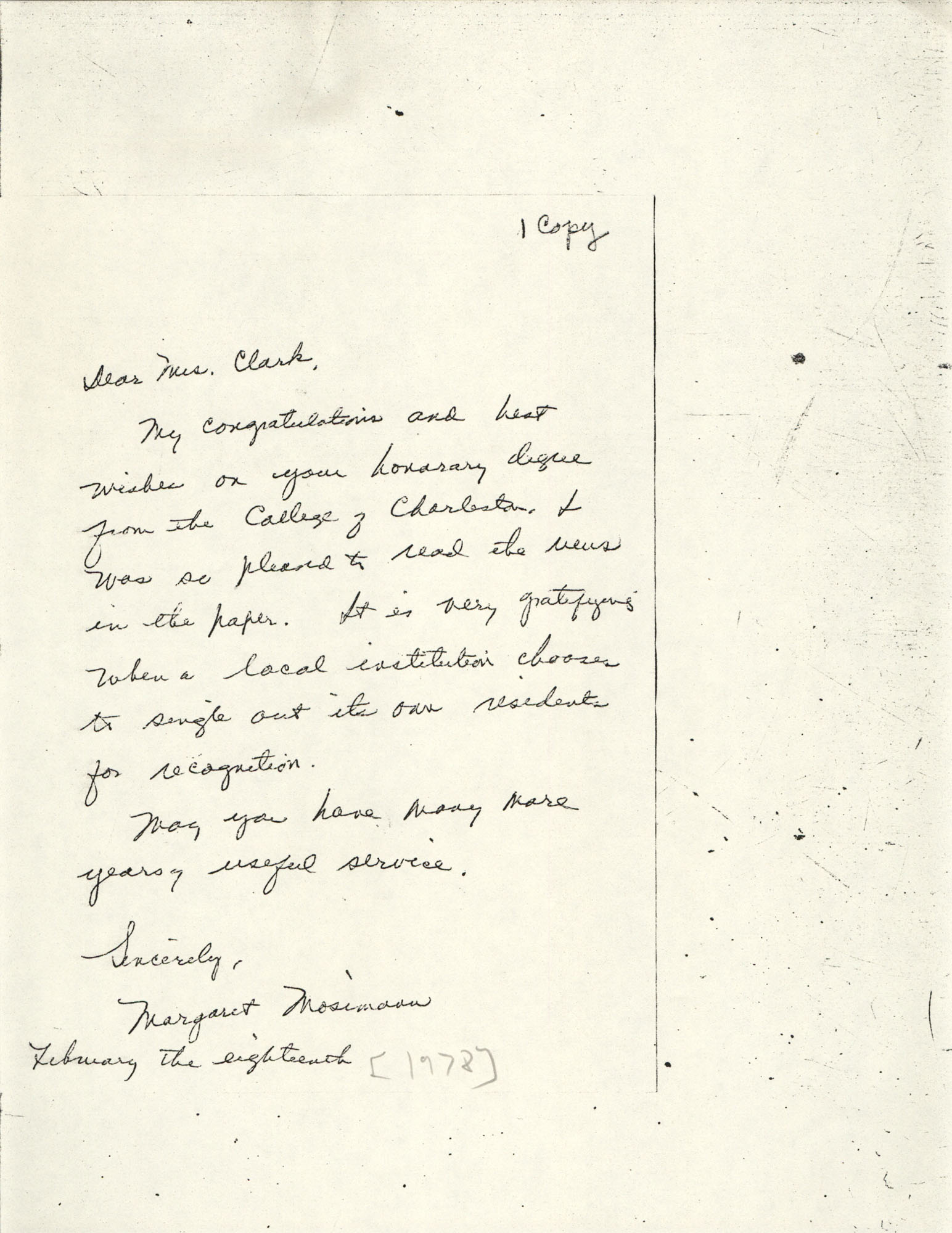 Letter from Margaret Mosimann to Septima P. Clark, February 18, 1978