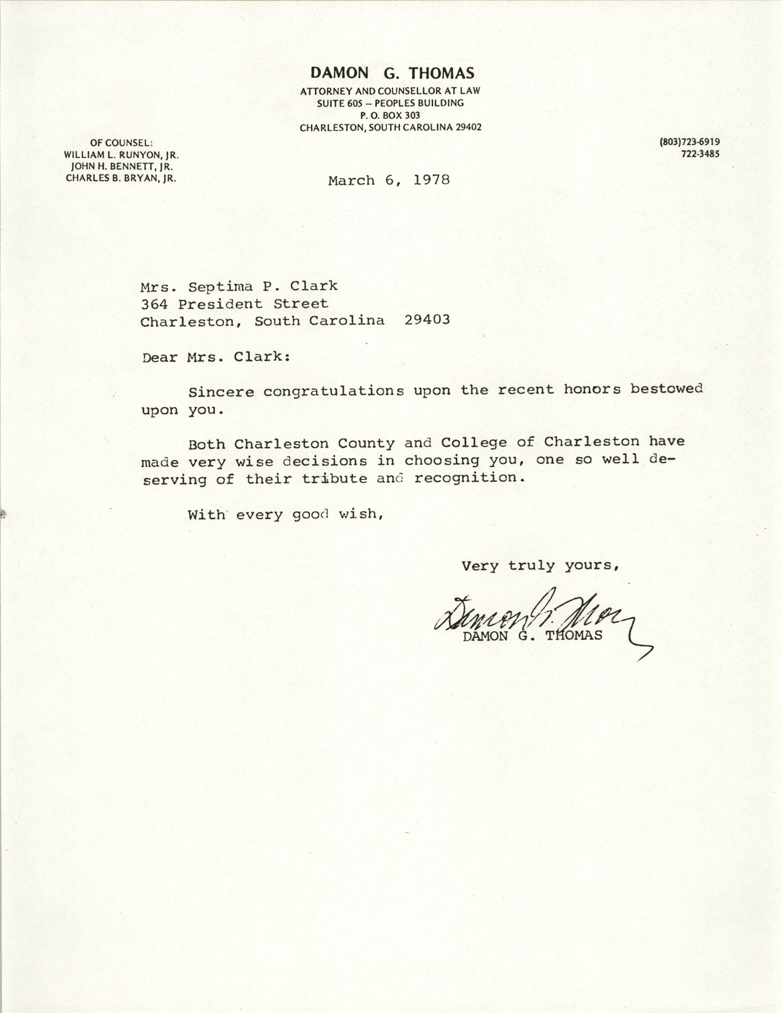 Letter from Damon G. Thomas to Septima P. Clark, March 6, 1978